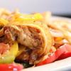 Chicken/Beef Fajitas rice, beans, salad